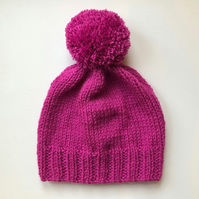 Bobble Hat in Pink Chunky Yarn