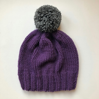 Bobble Hat in Purple Chunky Yarn with Grey Pom Pom