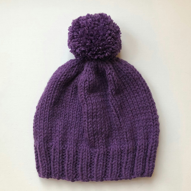 Bobble Hat in Purple Chunky Yarn