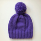 Bobble Hat in Violet Chunky Yarn