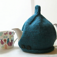 Tea Cosy in Deep Teal Green Aran Wool