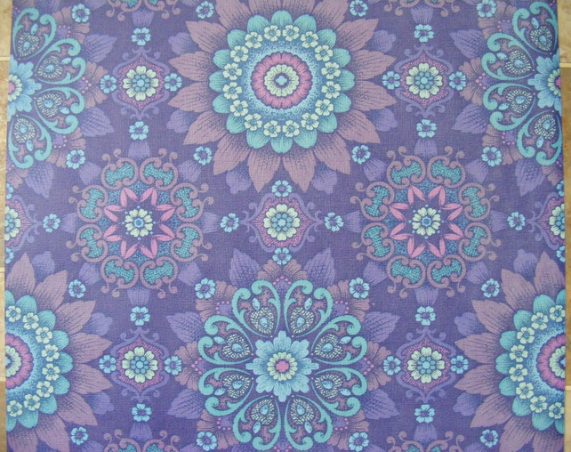 Vintage Wallpaper Purple Turquoise Retro Flower Folksy