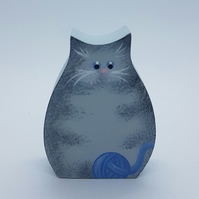 Cat  Individual Hand-painted Cat Ornament 'Tootie Tat Cat' Gray Tabby
