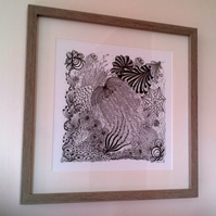 Sea Life Zentangle Inspired Print
