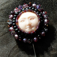 Wicca Moon Goddess Beaded Stick Pin Brooch