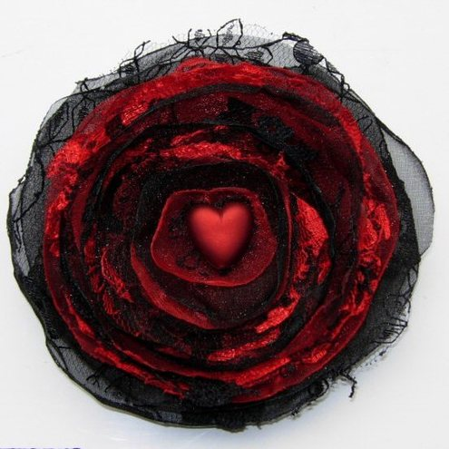 Gothic Red Black Heart Bloom De Ville Rose Brooch / Corsage