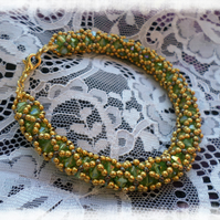 Aurora Olive Green and Gold Encased Beaded Bracelet