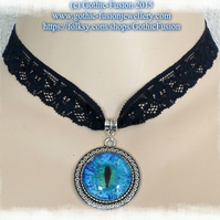 Aquamarine Blue DRAGON EYE Pendant Lace Choker Necklace