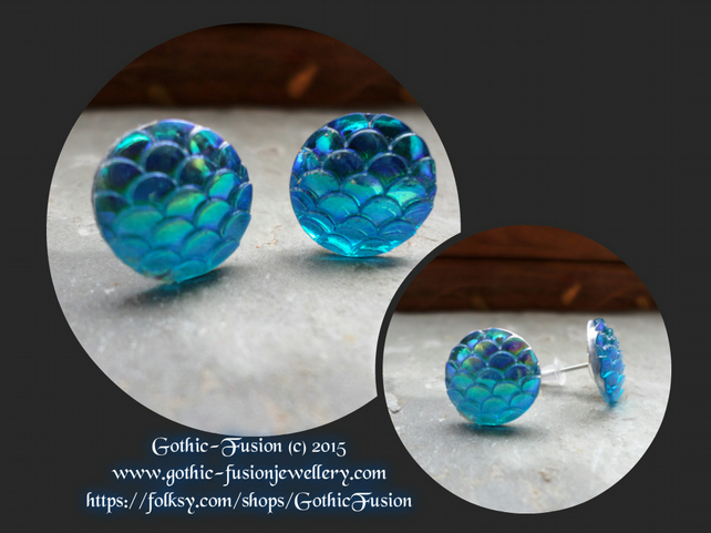 Iridescent Oceanic Blue Dragon Scales Stud Earrings