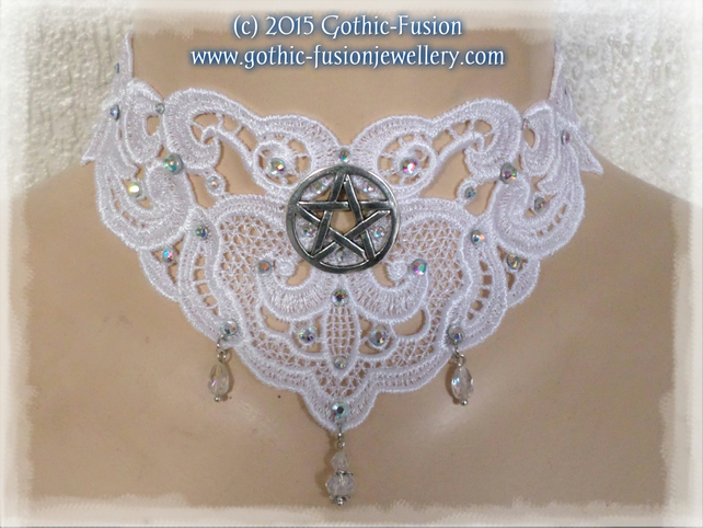 White Lace Pentacle Pagan Handfasting Choker Necklace