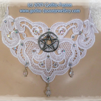 CLEARANCE SALE ... White Lace Pentacle Pagan Handfasting Choker Necklace