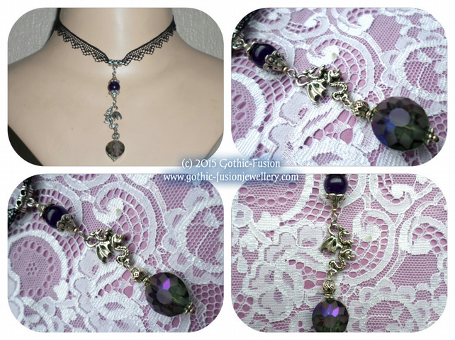 Black Lace Dragon Pendant Choker Necklace