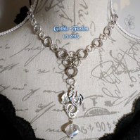 Chainmaille Crystal Dragon Pendant Choker