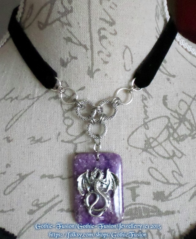 Amethyst Dragon Pendant Choker Necklace
