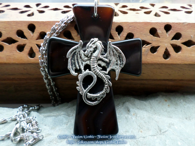 Large Agate Cross Pendant with Dragon Necklace