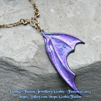 Purple Patina Verdigris Dragon Wing Pendant Necklace in Vintage Tones