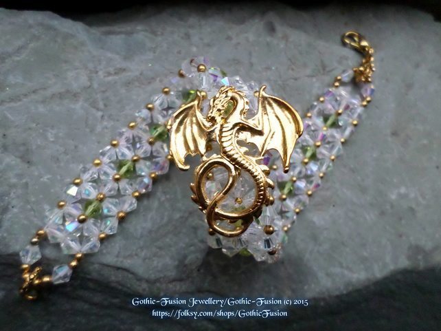 Beaded Dragon Bracelet in Aurora and Olive
