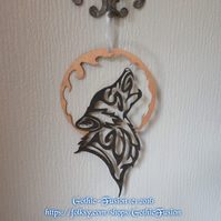 Tribal Howling Wolf with a Harvest Moon Wall Hanging