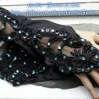 Black Lace Gauntlets Aquamarine Blue Crystals