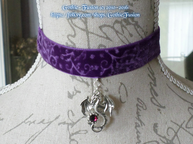 Purple Velvet Scrolled Dragon Pendant Choker