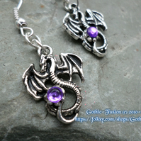 Dragon Earrings Small with Purple Crystal Accents