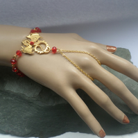 Golden Dragon Slave Bracelet with Red Accent Beaded Links