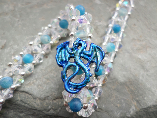 Sapphire Blue Dragon Vein and Aurora Beaded Dragon Focal Bracelet
