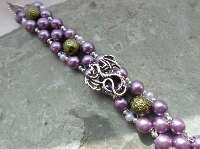 Purple and Green Beaded Dragon Bracelet