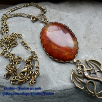 LARGE Vintage Style Dragon Vein Agate Pendant Necklace