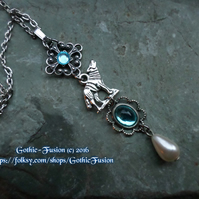 Topaz Aquamarine Blue Wolf Pendant Necklace