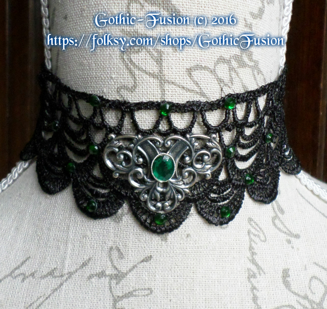 Emerald Green and Black Lace Victorian Gothic Choker