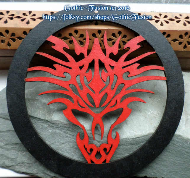 FIRE RED Tribal Dragon Wall Hanging