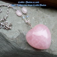LARGE 3D Puffy ROSE QUARTZ HEART Pendant Necklace