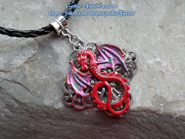 Hand Painted Dragon Pendant Necklace