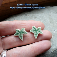 Beautiful Ceramic Handcut Ivy Leaf Stud Earrings