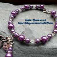 DRAGON CHARM Mom Bracelet in Purple Tones Mothers Day Gift