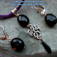 Black Dragon Pendant Necklace and Earrings