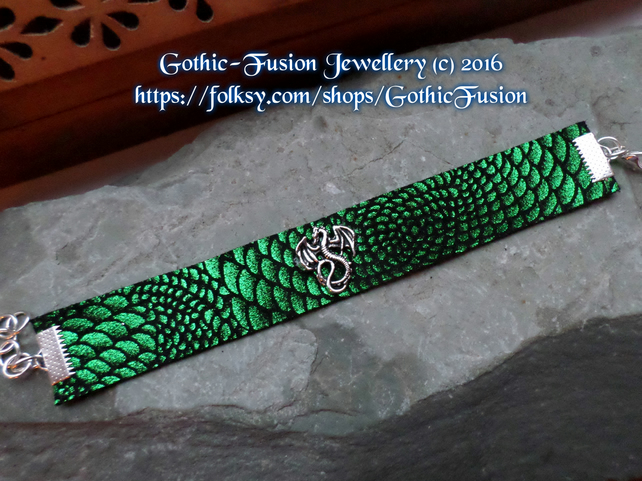 Dragon Cuff Dragon Scale Leather Bracelet Narrow