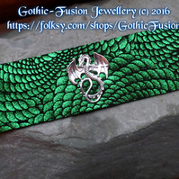 DRAGON Scale Metallic Green Leather Cuff