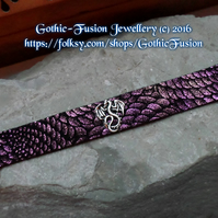 Dragon Scale Dragon Cuff Bracelet Purple Green Narrow