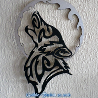 TRIBAL Wolf Howling At The Moon Wall Hanging