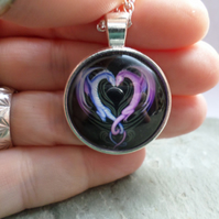 Intertwined Dragon Heart Pendant Necklace