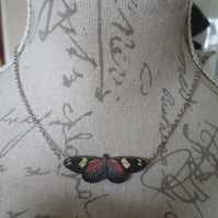 Wooden Moth Pendant Necklace Double Sided