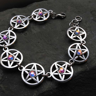 Pentacle Bracelet with Aurora Borealis Crystals