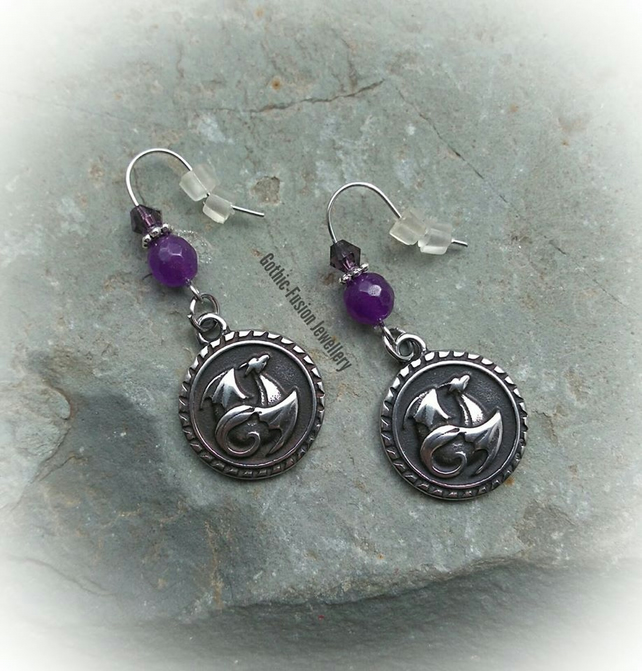 PRIVATE ORDER FOR ROSEANNA ... Purple Dragon Earrings
