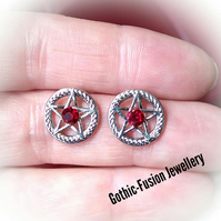 Ruby Red Chaton Pentacle Stud Earrings