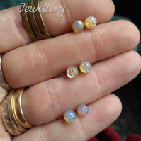 Small 4mm Vintage Preciosa Harlequin Opalite Crystal Stud Earring