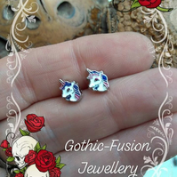 Unicorn Stud Earrings with Blue Main Left Facing
