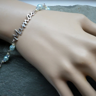 Mama Bracelet Pale Blue and Opalite Mother Mothers Day Gift New Baby New Mama