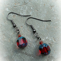 Victorian Gothic Garnet Red CZECH CATHEDRAL Bead Earrings in Black